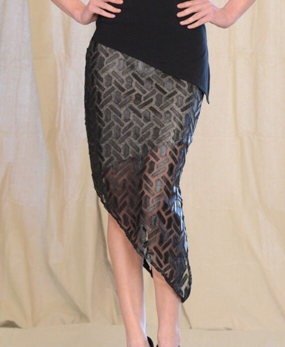 Women's Angled Mid-Length Slit Skirt, by Rebecca Bruce, S-527 Sheer Puzzle