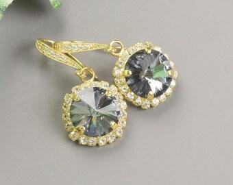 Charcoal Gray Earrings - Gold Gray Swarovski Crystal Earrings - Crystal Drop Earrings - Wedding Jewelry - Bridesmaid Earrings - Bridal