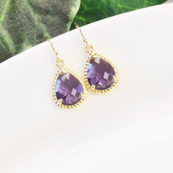 amethyst earrings purple bridesmaid earrings gold