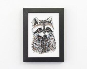 Raccoon 5x7 Art Print - Woodland Giclée Print