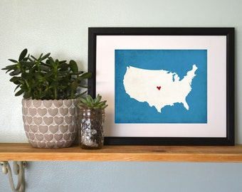 United States Art Silhouette Map Personalized Print.