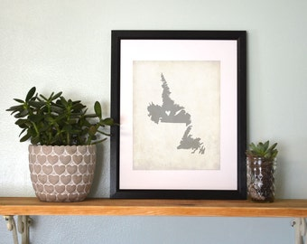 New Foundland Personalized Canadian Province Map Art 8x10 Print