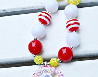 Take Me Out to the Ballgame-Chunky Bead Necklace-Bubblegum Necklace for Girls-Baseball Necklace for Girls