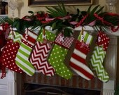 READY TO SHIP  4 Christmas stockings, Christmas stocking personalized in bright red and green cotton
