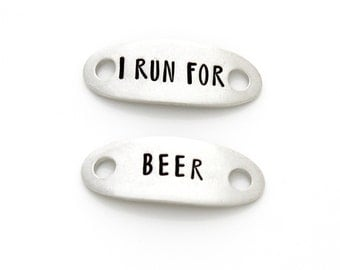 "Shoe Tags, ""I Run For Beer"". Stamped Shoe Plates for Funny Running Motivation. shoelace tag."