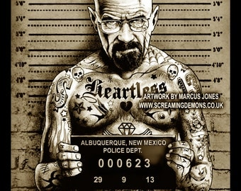 Heisenberg Mugshot Art Print by Marcus Jones
