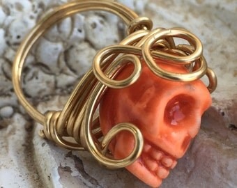 Orange Wire Wrapped Ring