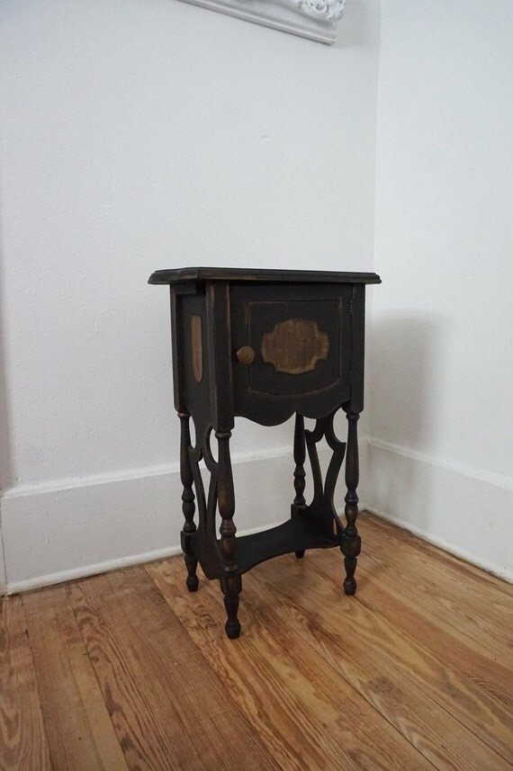 Black Antique Humidor Side Table Vintage Cigar Tobacciana