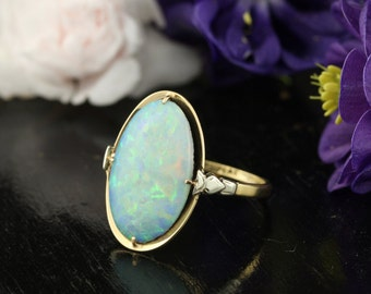 Art Deco Opal 18k Yellow Gold and Platinum Cocktail Ring
