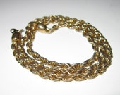 Vintage Trifari rope necklace gold plated 18 inches long