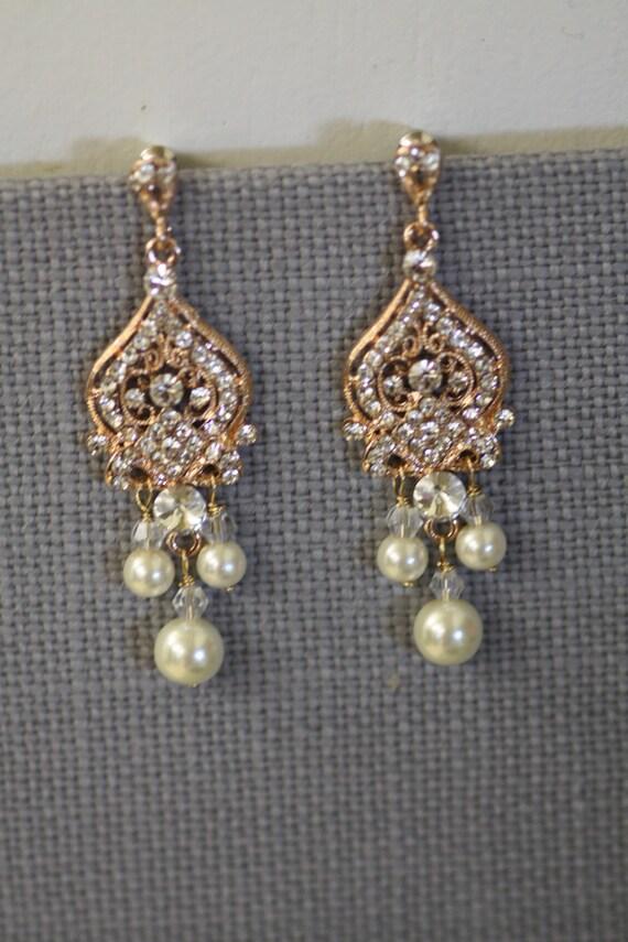Rose Gold Bridal Earrings Chandelier Earrings by simplychic93