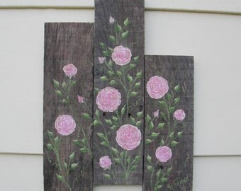 Rustic Country Cottage Chic Original Pink Roses Painting Reclaimed Wood Farmhouse Chic Decor