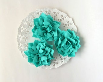 "3 pcs - Turquoise double satin flowers - Frayed Flower - Fabric Flower - 2 1/4"" Flowers"