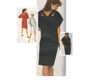 Simplicity 80s Retro Dress Sewing Pattern New Wave Style Loose Fit Straight Skirt Cut Away Open Back Button Closing Bust 34