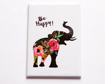 Elephant Magnet, Be Happy, ACEO, Kitchen magnet, Fridge magnet, Floral, Elephant, Flowers, Be happy magnet, Magnet (4954)