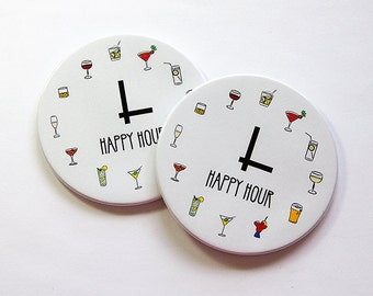 Happy Hour Coasters, Wine Coasters, Drink Coasters, Coasters, Set of Coasters, Hostess Gift, Housewarming Gift, Happy Hour (5043a)