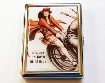 Cigarette box, Cigarette Case, Metal cigarette case, Always up for a wild ride, Metal Wallet, Case for smokes, Humor, Retro Design (5071)