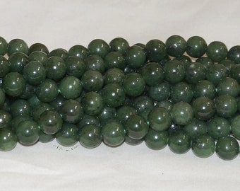 "Natural Green Jade 12mm Round Gemstone Beads AA Grade - 15.75"" Strand"