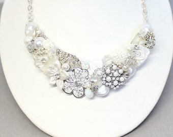 White Bridal Necklace-Bridal Statement Necklace- Bridal Bib- White Bridal Bib-Vintage-Inspired Bib Necklace-White Wedding Necklace-White Bib