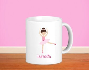 Ballerina Kids Personalized Mug - Ballerina with Name, Child Personalized Ceramic or Poly Mug Gift