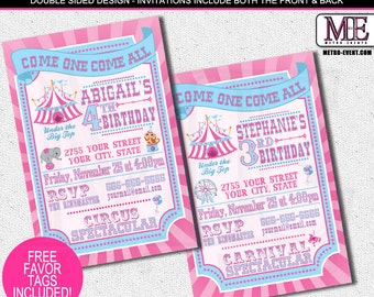 Pretty Pink and Blue, Carnival and Circus Invitations for Girls
