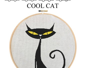COOL CAT - Home Decor Counted Cross Stitch Pattern PDF - Plus Free Bonuses - Instant Download