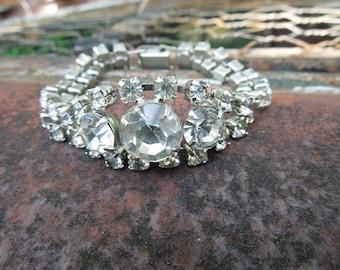 Vintage Rhinestone Bracelet Clear Stones
