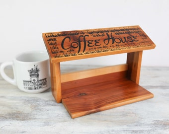 Vintage Coffee Mug Holder, Cedar Wall mount Souvenir, Port Aransas, Texas