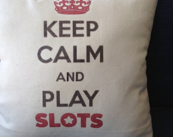 Slot machine players, 12x12 inch pillow, gambling, vegas, atlantic city,  funny  quotes, quirky gift
