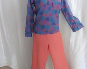 Vintage womens slacks pants high waisted wide leg 70s stretch knit elastic waist coral orange pastel size M L- matching top available