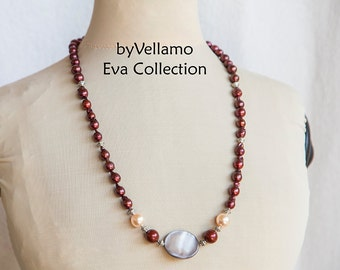 Long statement necklace with reborn keshi pearls, dark wine red baroque keshi pearls, large shell, summer lightweight necklace, fashion wear