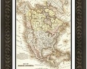 MAP of AMERICA and Countries 2 in a Vintage Grunge Weathered Antique style