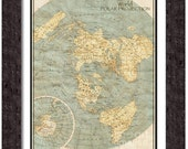MAP of WORLD Polar Projection in a Vintage Grunge Weathered Antique style