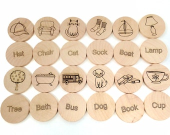 Sight Words Matching Game 24 Pieces - Preschool Game- Waldorf Inspired Wooden Memory Game