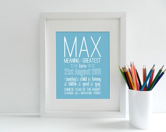 Personalised Baby Birth Details Keepsake Print - Unisex - 8x10 inch