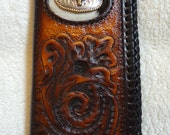 IN STOCK Handmade Leather Roper Wallet with Longhorn Concho