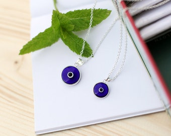 Evil eye silver necklace, evil eye glass pendant made of sterling silver