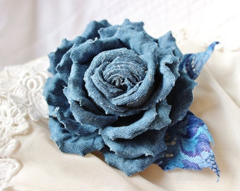 Cotton flower, denim flower brooch, denim rose, wedding anniversary gift for her, denim wedding, cotton jewelry, cotton gift