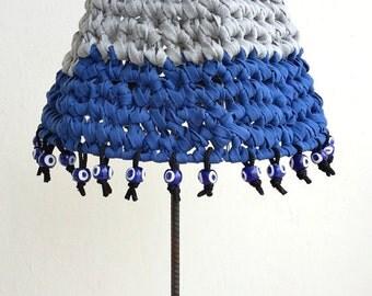 Tricot abat-jour/knit lamp shade/fiber art lamp shade/blue gray lampshade