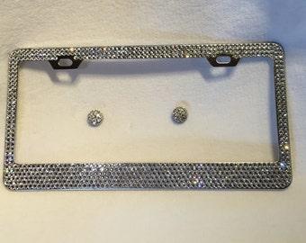 Swarovski crystal license plate cover-6 rows