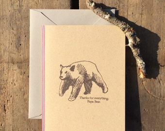papa bear card. father's day card. greeting card.