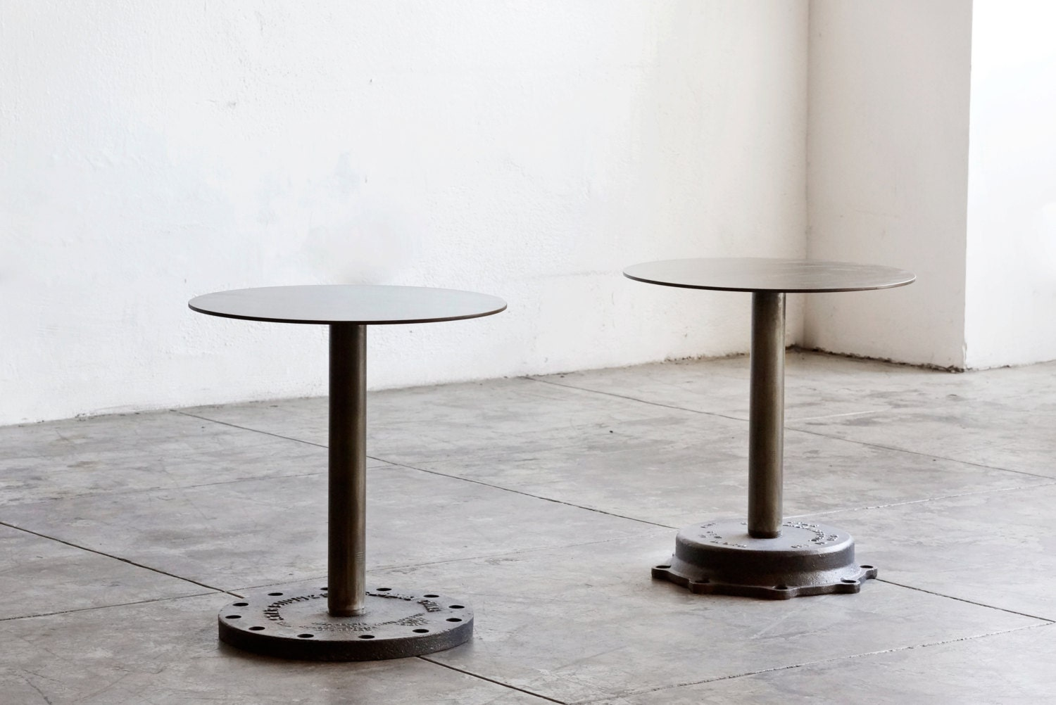 Pair of industrial side tables cast iron bases haute juice for Cast iron end table
