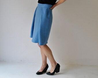 midi skirt cyan blue, pleated skirt, big pleats
