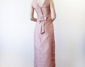Peach pink bow sleeveless formal maxi dress XS