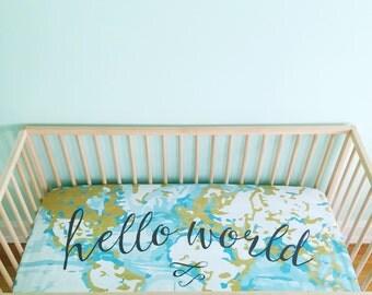 Crib Sheet Aqua Hello World. Fitted Crib Sheet. Baby Bedding. Crib Bedding. Minky Crib Sheet. Crib Sheets. Map Crib Sheet. Adventure Nursery