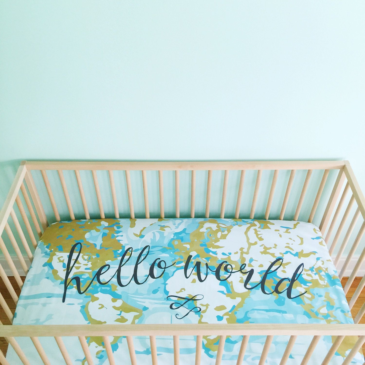 Crib bedding sale uk - Crib Sheet Aqua Hello World Fitted Crib Sheet Baby Bedding Crib Bedding Minky Crib Sheet Crib Sheets Map Crib Sheet Adventure Nursery