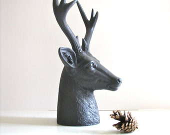 Faux Stag Deer Head Bust animal statue in charcoal grey for tabletop home decor nursery decor gift for him her office decor deer head