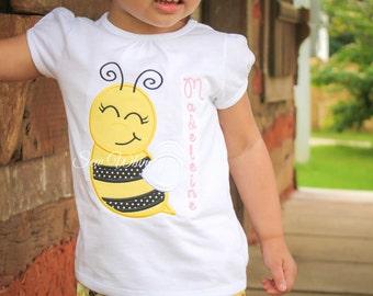 Bee Applique shirt- Bumble Bee Shirt- Girl's Bee Shirt- Birthday Girl Shirt- Monogram Bee Shirt- Embroidered Bee Shirt- Summer Shirt- Custom