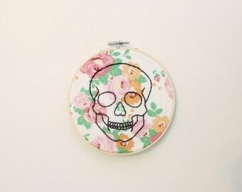 """6"""" Floral Skull - Embroidery Hoop Art"""