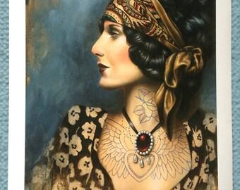 1930's Tattooed Gypsy Girl Art Print